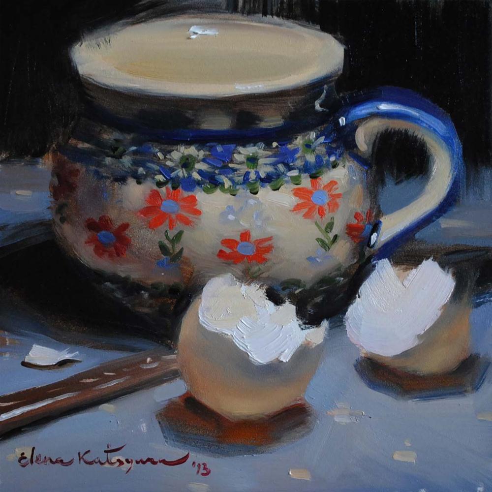 """A Bowl & Two Eggshells"" original fine art by Elena Katsyura"