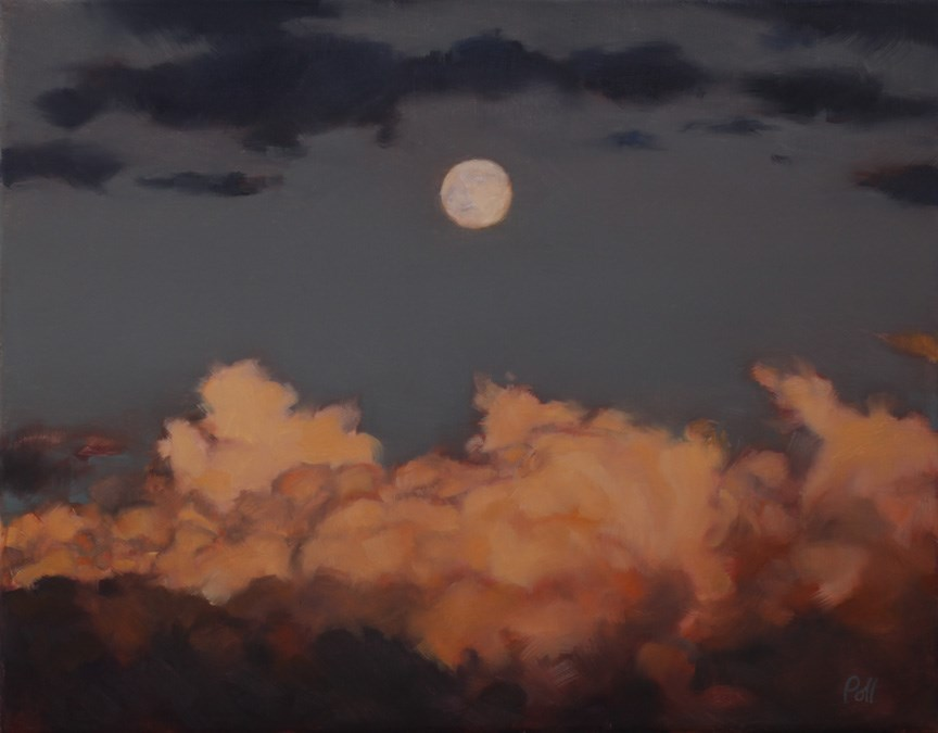 """Moonrise at Sunset (framed)"" original fine art by Pamela Poll"