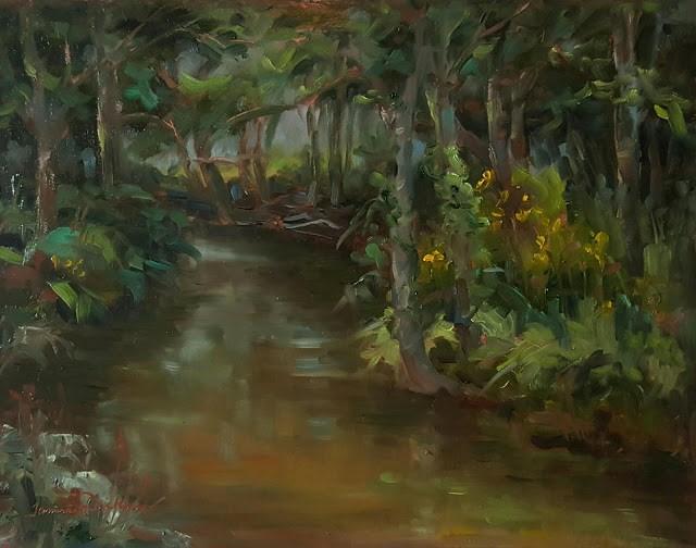 """Shaded Creekbank"" original fine art by Tammie Dickerson"
