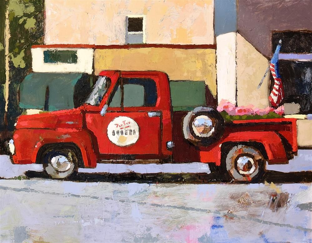 """Old Red Truck"" original fine art by Joan Wiberg"