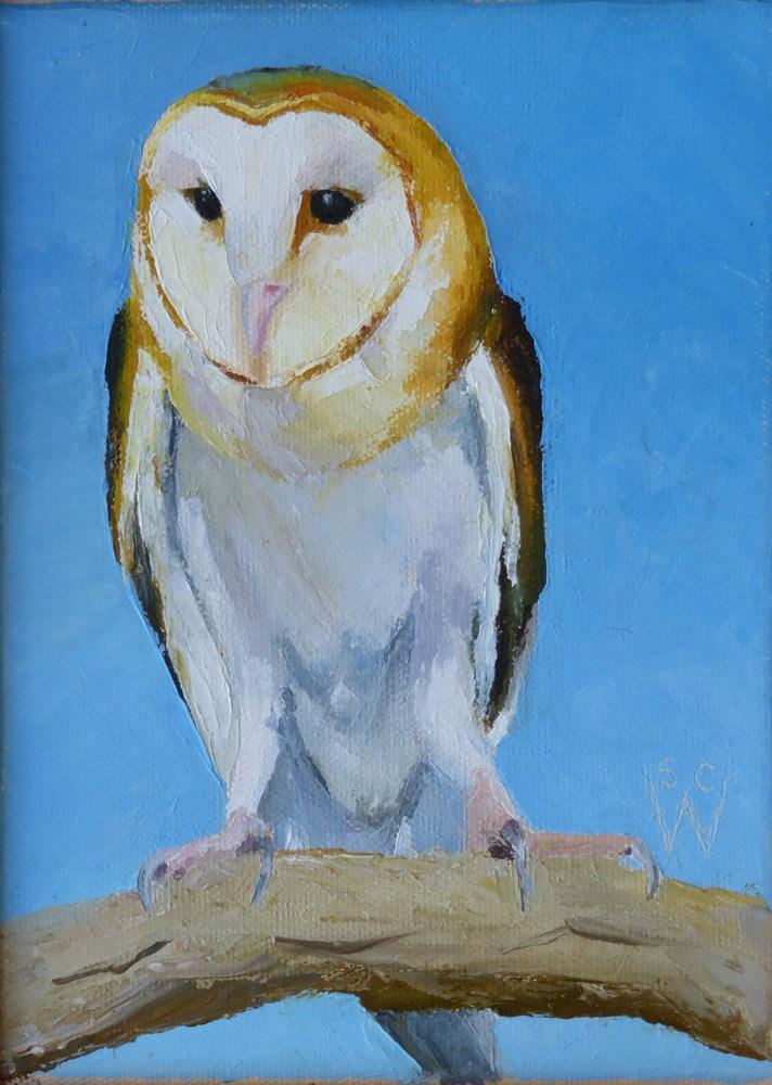 """""""Barn Owl"""" original fine art by Susan Woodward"""