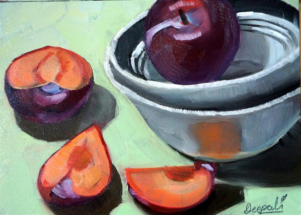 """Plums and bowls"" original fine art by Dipali Rabadiya"