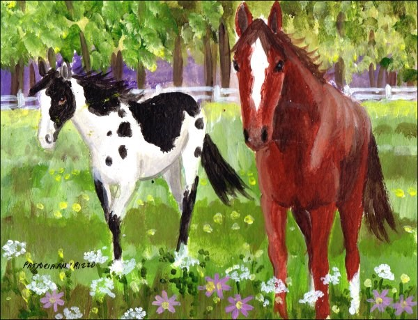 """""""Horses Among the Wildflowers"""" original fine art by Patricia Ann Rizzo"""