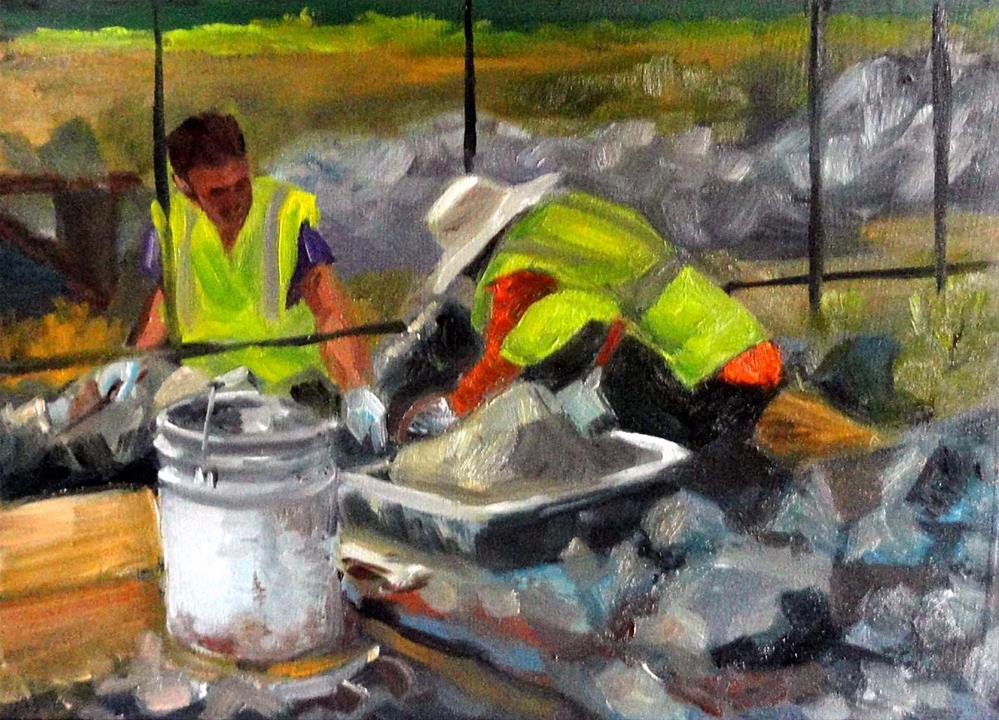 """Masons At Work"" original fine art by Cietha Wilson"