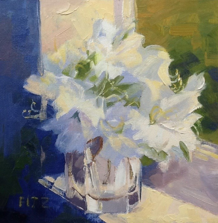 """Azaleas in the Window"" original fine art by Charlotte Fitzgerald"