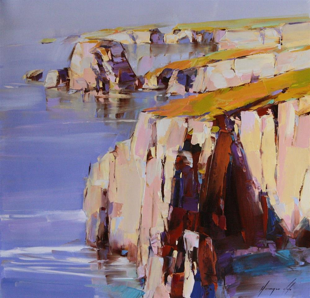 """OCEAN SIDE WEST COAST OIL PAINTING ON CANVAS"" original fine art by V Y"