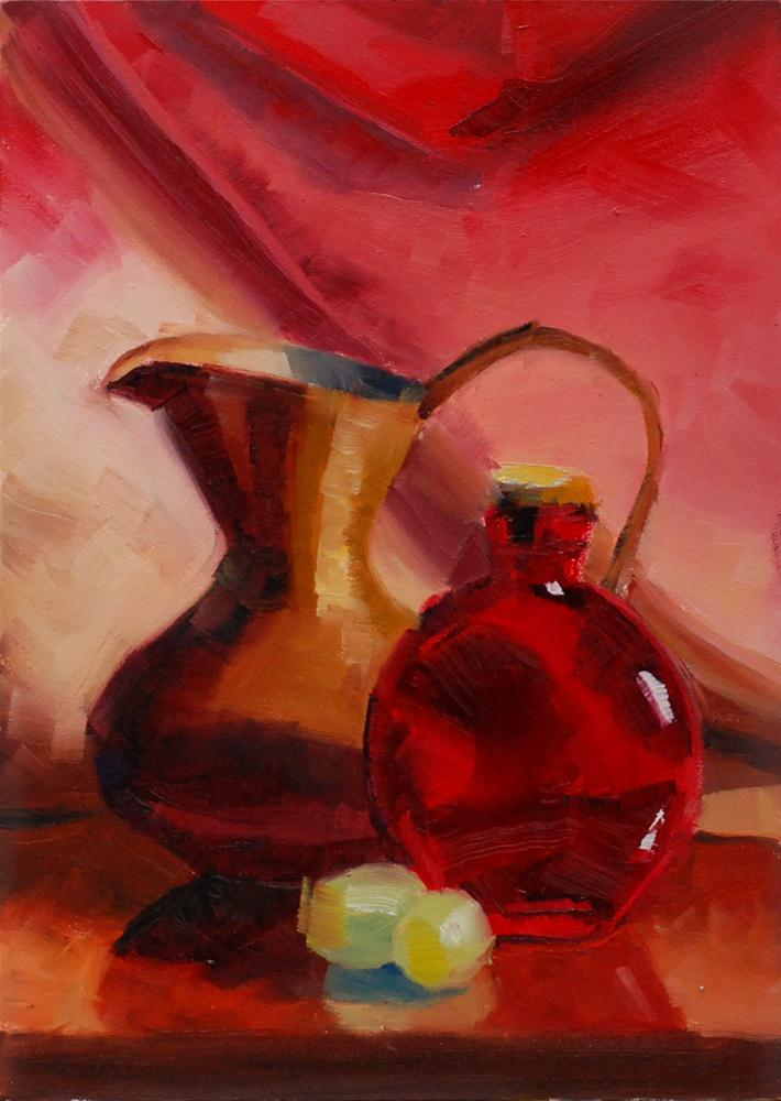 """""""Brass Pitcher with Red Bottle and Grapes"""" original fine art by Susan McManamen"""
