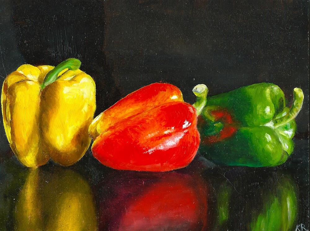 """3 peppers"" original fine art by Karen Eade"