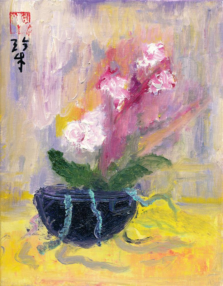 """Orchid Shadows"" original fine art by Janet Gunderson"