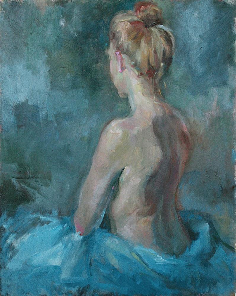 """Figure in a Blue Studio"" original fine art by Julie Snyder"