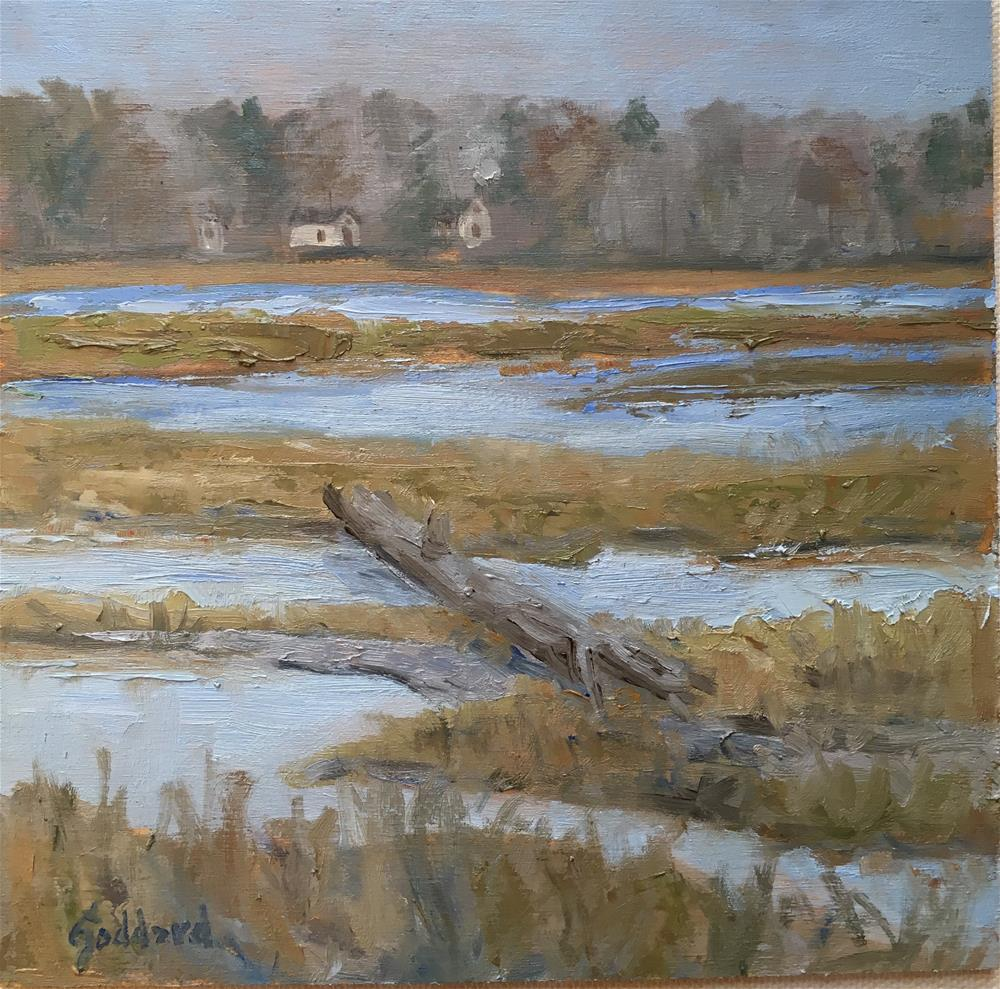 """Foggy Marsh"" original fine art by Shari Goddard Shambaugh"