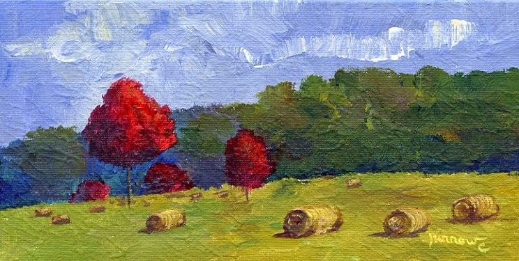 """""""ORIGINAL PAINTING OF AUTUMN MAPLES AND HAY BALES"""" original fine art by Sue Furrow"""