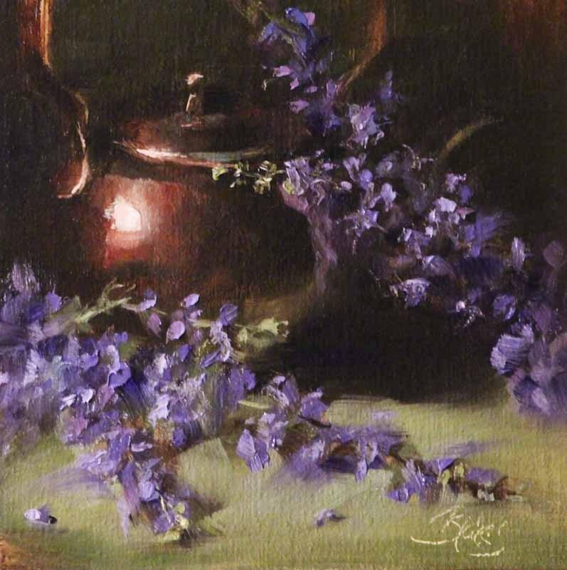 """Texas Lilacs and a Copper Teapot"" original fine art by Pamela Blaies"