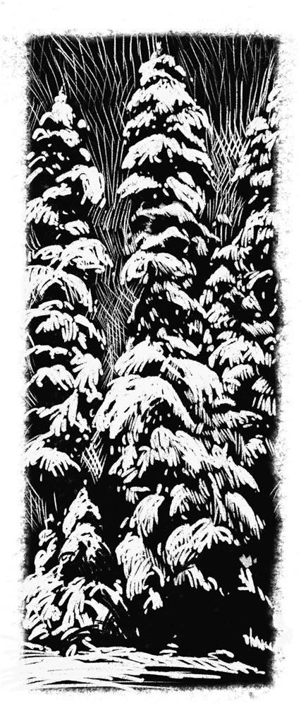"""Snow Trees"" original fine art by Cathleen Rehfeld"