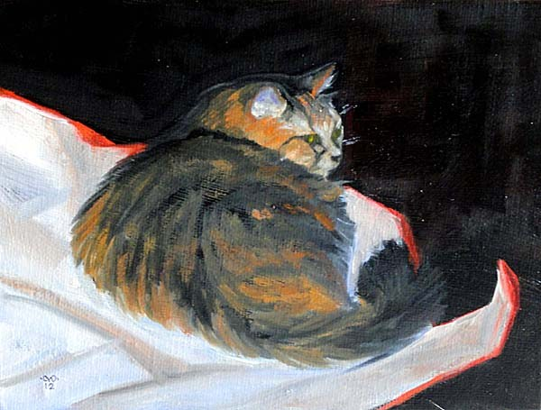 """""""Fat Cat On Wrapping Paper"""" original fine art by Cietha Wilson"""