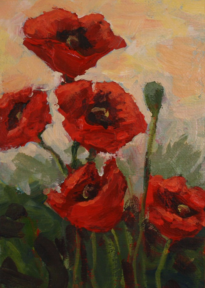 """Poppies at Sunset"" original fine art by Shannon Bauer"