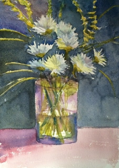 """Zinnias!"" original fine art by Katharine Engh"