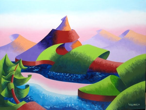 """Mark Webster - Astro Pop Sunset - Abstract Geometric Landscape Oil Painting"" original fine art by Mark Webster"