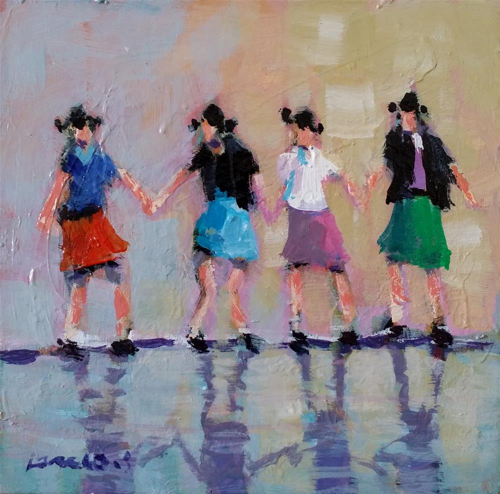"""dancing girls"" original fine art by salvatore greco"