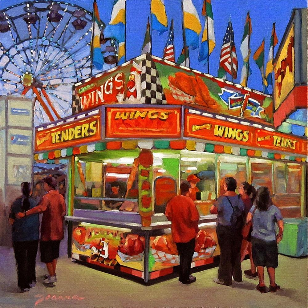 """""""Wing Wing Situation--Series Painting of Fair Food Booth"""" original fine art by Joanna Bingham"""