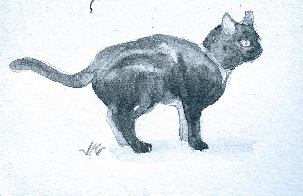 """Daily Cat 128"" original fine art by Jean Krueger"