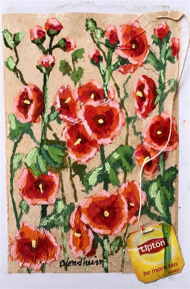 """Tea Bag Painting Hollyhocks"" original fine art by Linda Blondheim"