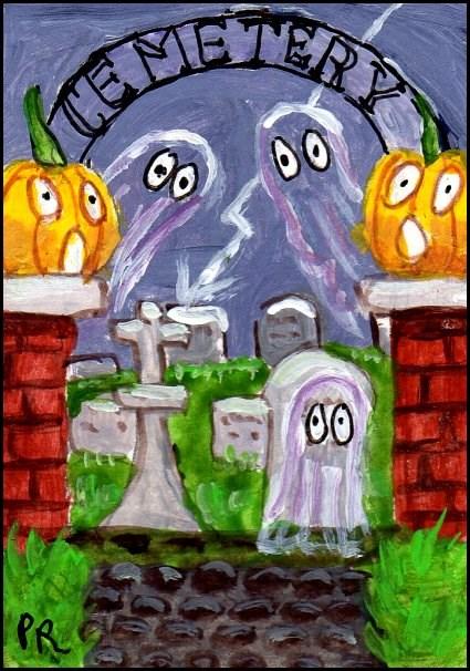 """""""Ghostly Cemetery"""" original fine art by Patricia Ann Rizzo"""