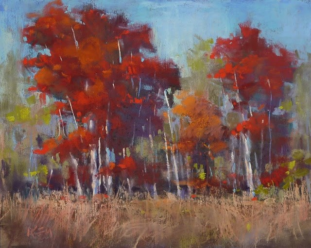 """How to Make a Red Tree Glow with Pastels"" original fine art by Karen Margulis"