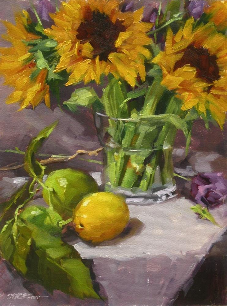 """""""Sunflowers & Citrus"""" original fine art by Karen Werner"""