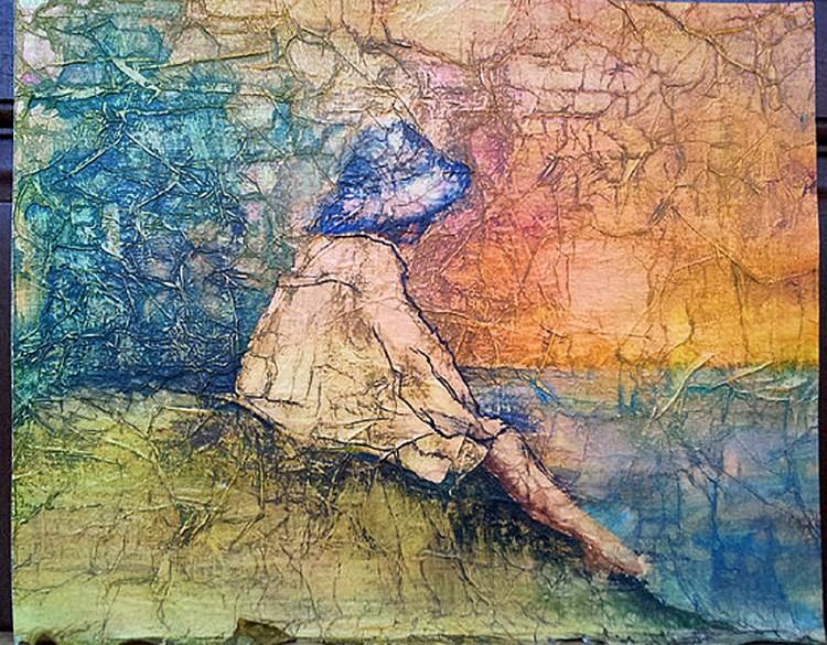 """Zen Inspired Summer Sunset"" original fine art by lynne french"