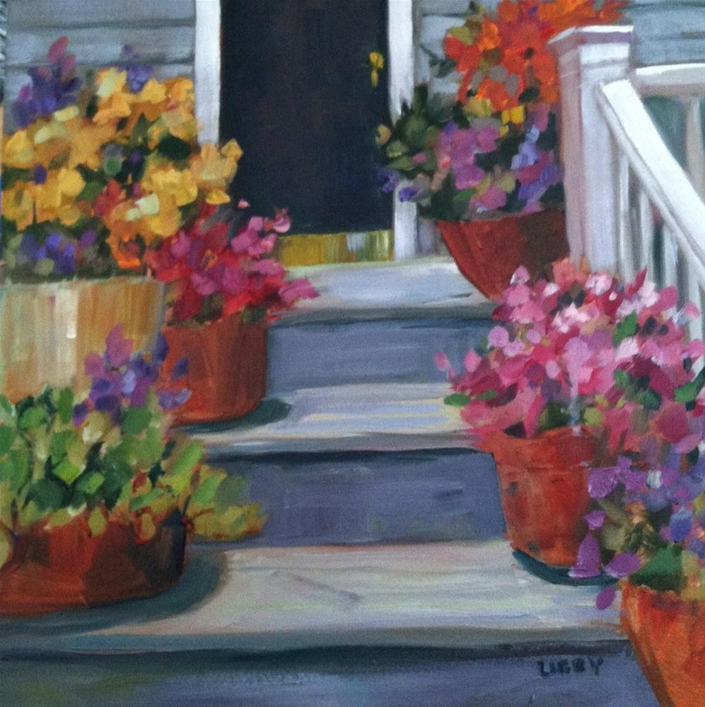 """Up the Steps"" original fine art by Libby Anderson"