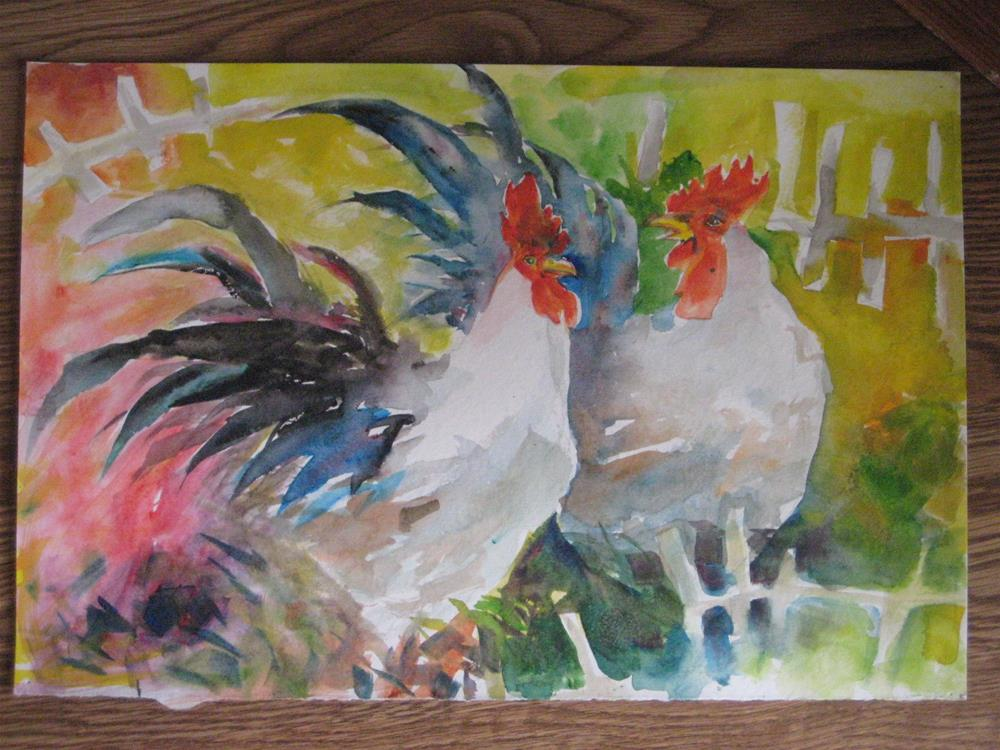"""""""roosters"""" original fine art by Wenqing Xu"""