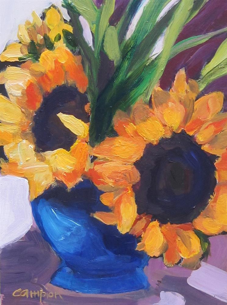 """111. Sunflowers in a Cobalt Vase"" original fine art by Diane Campion"