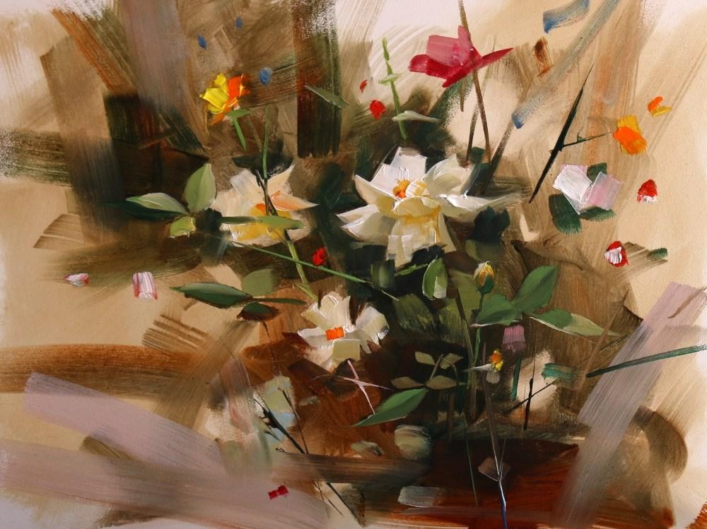 """Rose Garden in Mayfield Park"" original fine art by Qiang Huang"