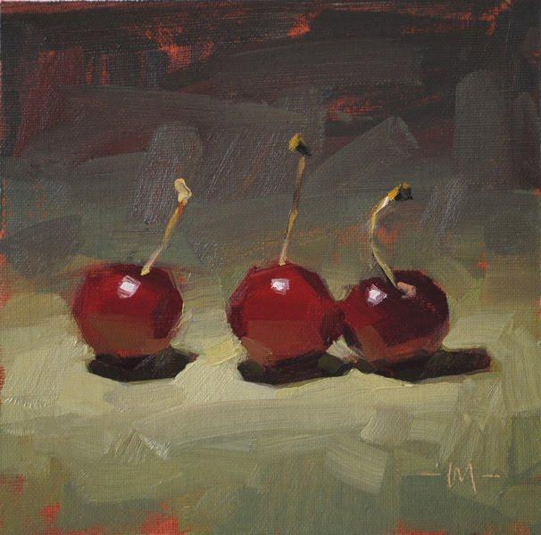 """We 3 Cherries B"" original fine art by Carol Marine"