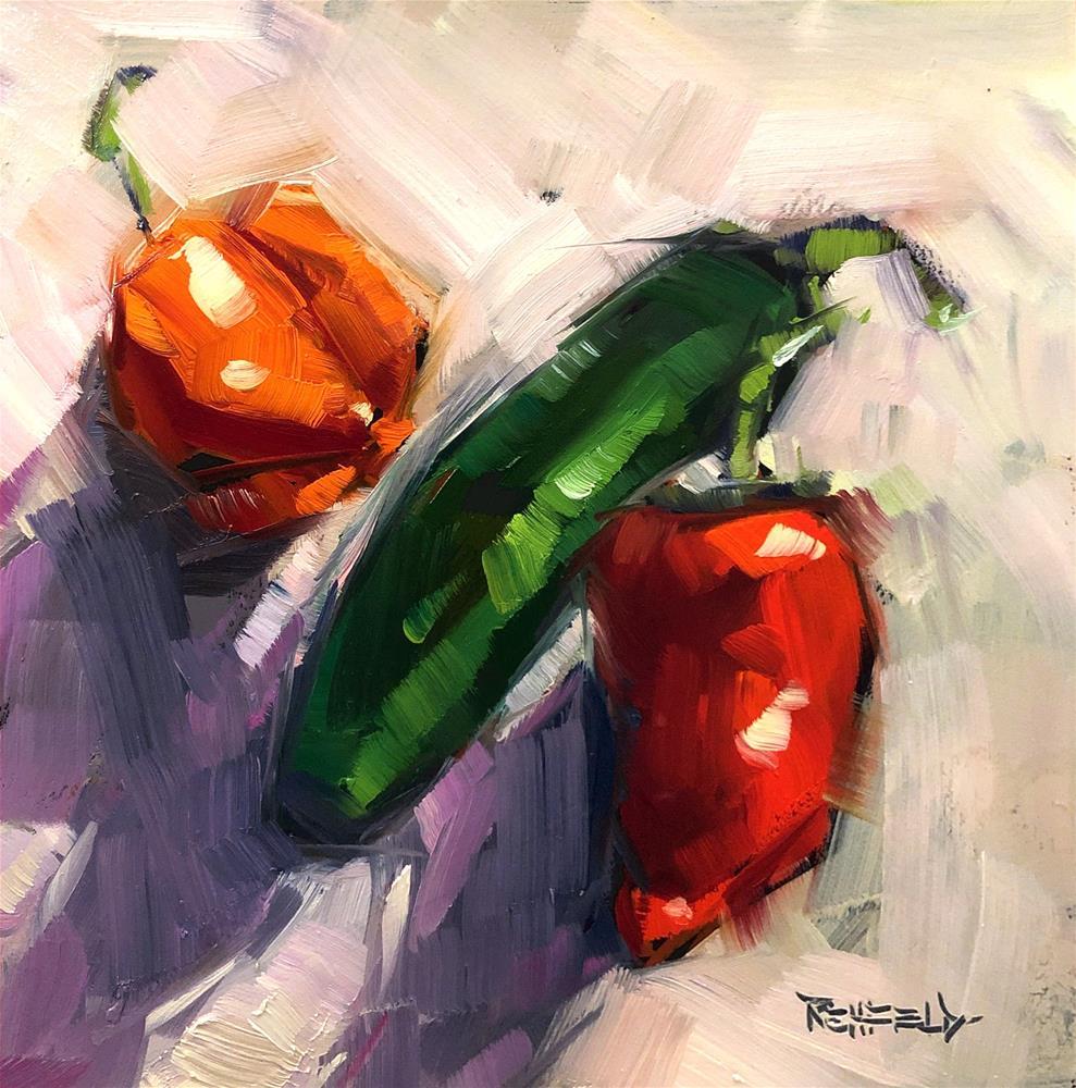 """Tres Pimientos"" original fine art by Cathleen Rehfeld"
