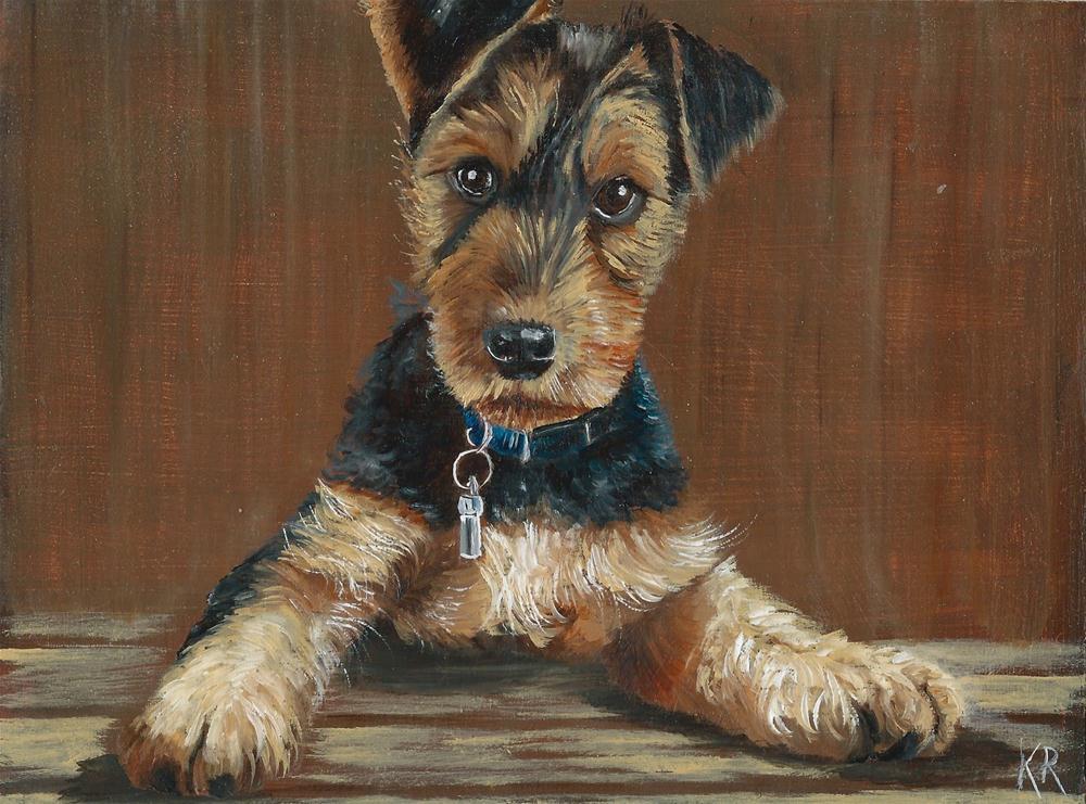 """""""Brown Study 1 - Airedale Puppy"""" original fine art by Karen Robinson"""