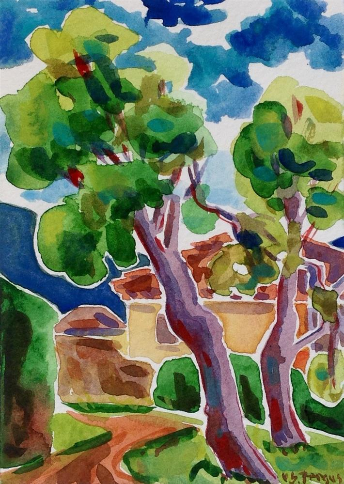 """Two Parasol Pines"" original fine art by Virginia Fergus"