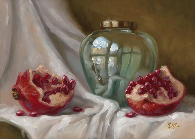 """Pomegranate and Green Glass Vase"" original fine art by David Capalungan"