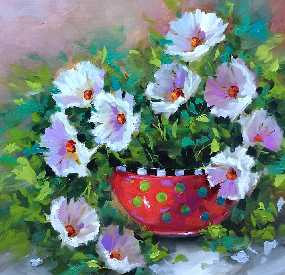 """""""Starlight White Daisies and the Countdown to France"""" original fine art by Nancy Medina"""