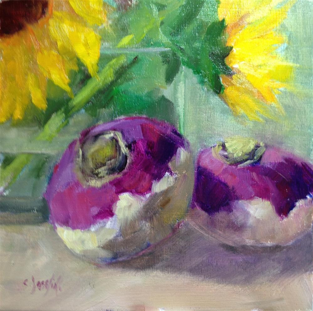 """Purple and Green"" original fine art by Carol Josefiak"