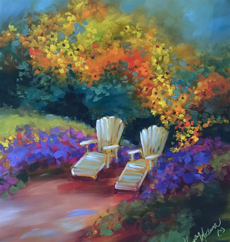 """""""Two for Tea in the Garden and The Best of Ireland"""" original fine art by Nancy Medina"""