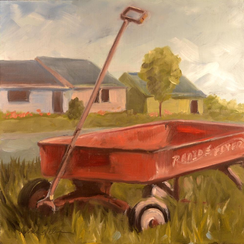"""Radio Flyer"" original fine art by Karen Weber"