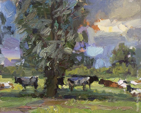 """""""Painting Cows on a Hot Summer's Day"""" original fine art by Roos Schuring"""