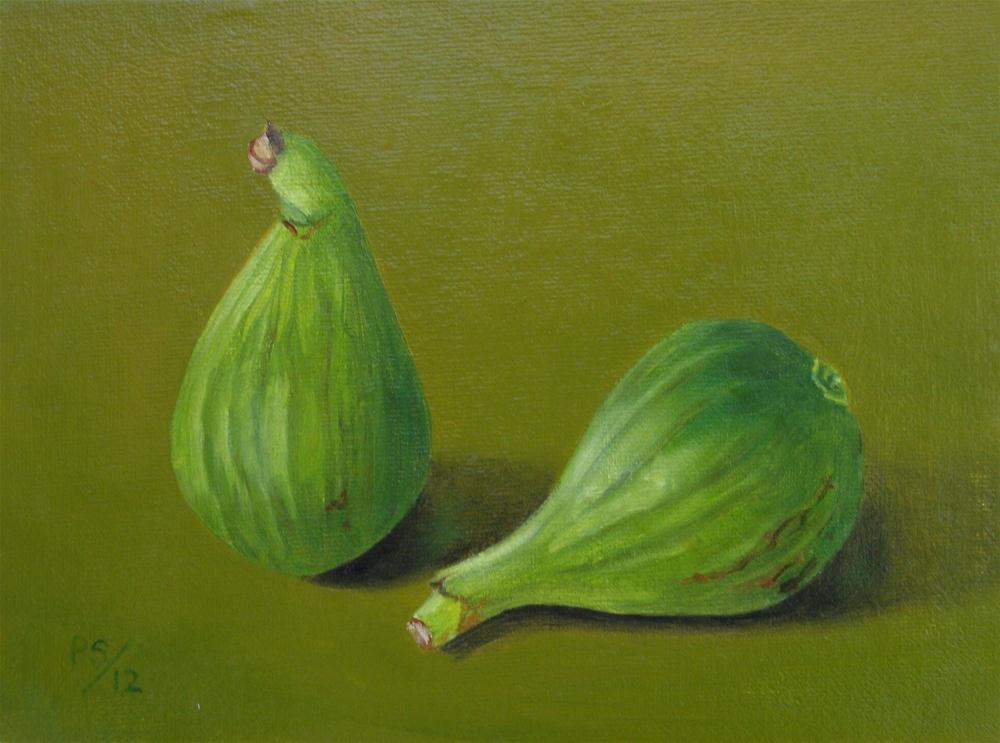 """""""Two green Figs II"""" original fine art by Pera Schillings"""