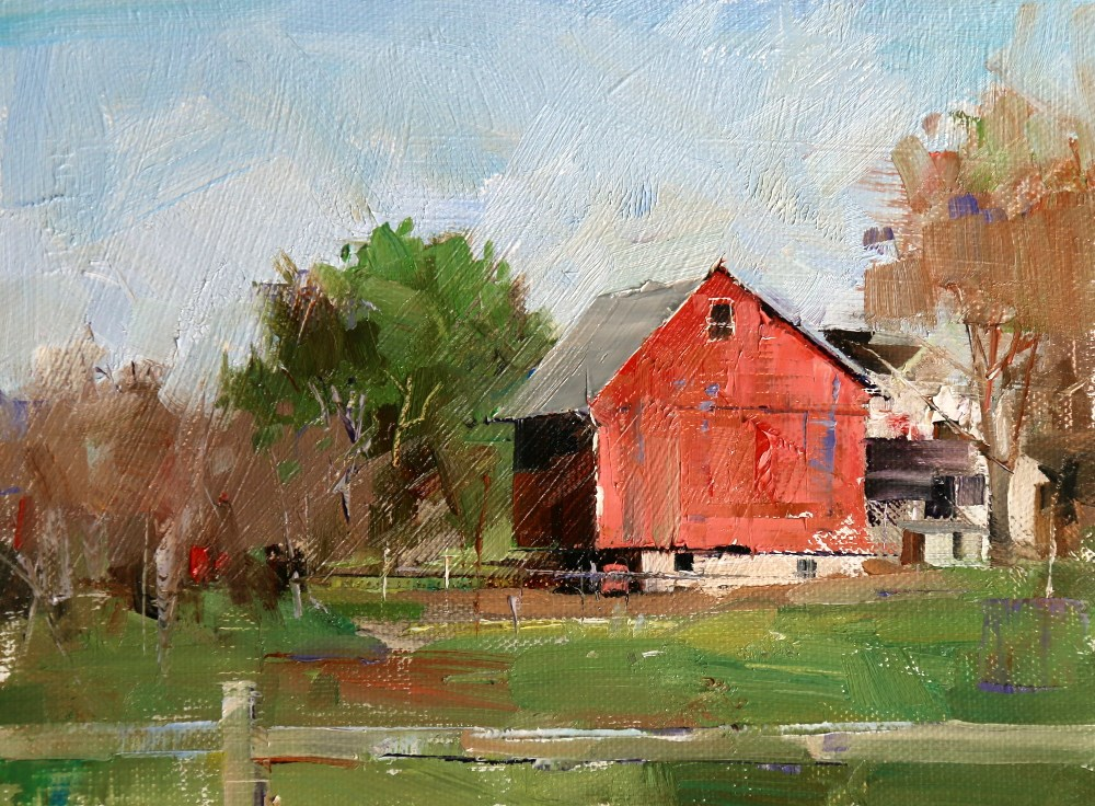 """Red Barn in Lancaster PA"" original fine art by Qiang Huang"