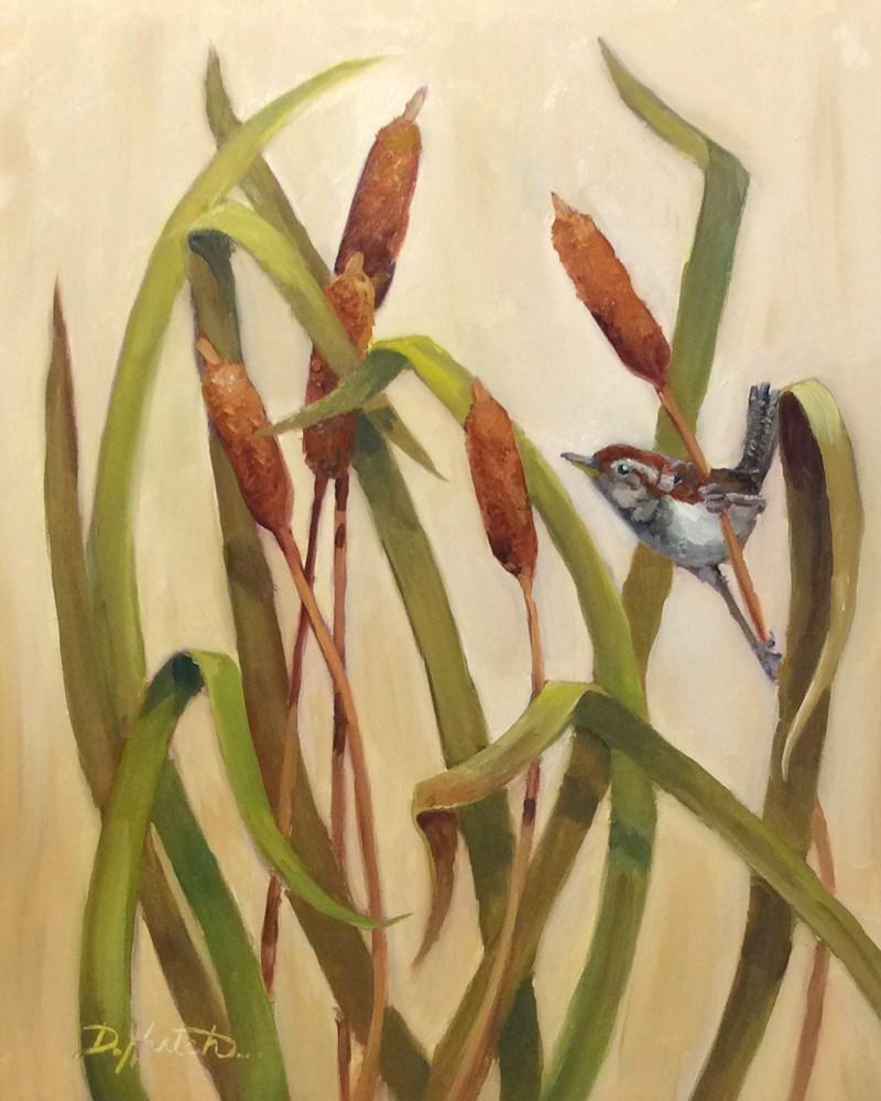 """""""Wren in Cattails"""" original fine art by Diane Hutchinson"""