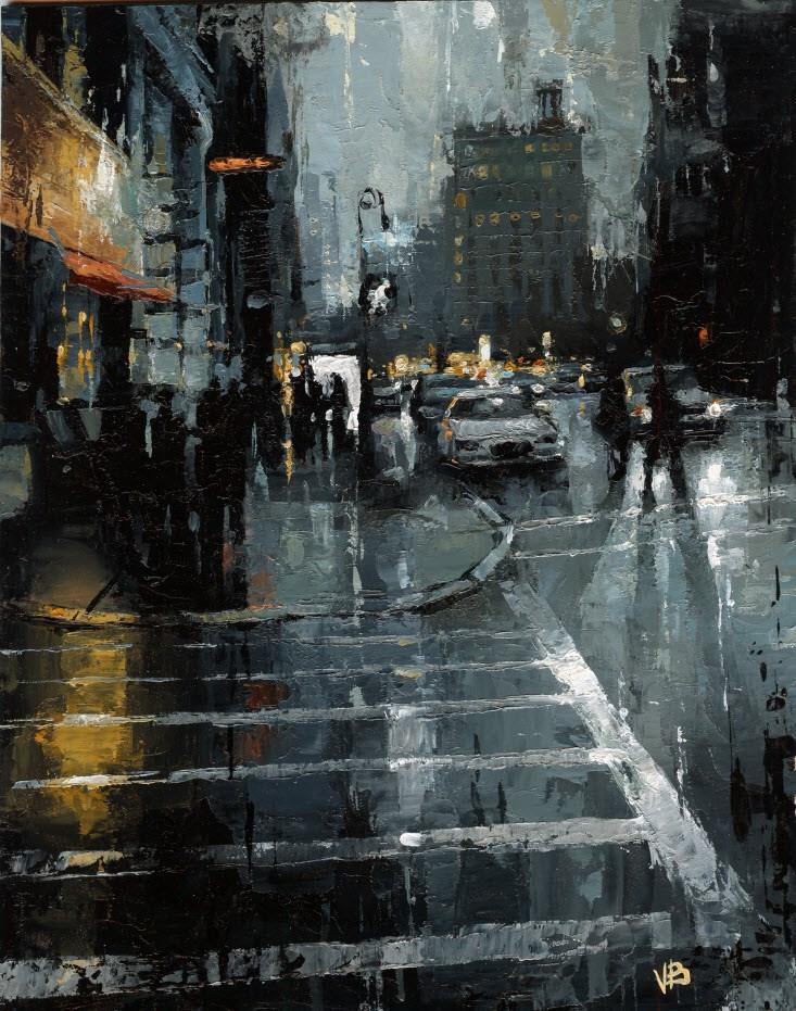 """""""Houston Street NYC"""" original fine art by Victor Bauer"""
