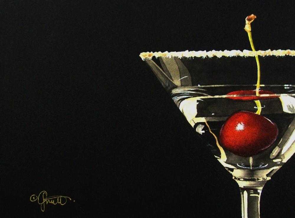 """Cherrytini"" original fine art by Jacqueline Gnott, TWSA, WHS"
