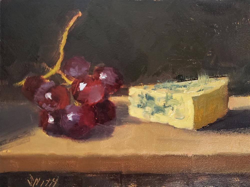 """""""Grapes and Cheese"""" original fine art by Barbie Smith"""